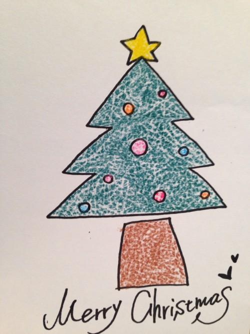 クリスマスツリーイラストの描き方簡単でカワイイよ